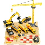 54 PCS Engineering Construction Vehicles, Construction Site Set Toy, Trailer and Digger Playsets, 6 Vehicles - Crane, Cement Truck, Excavator, Steamrollers, Dump Truck and Fuel Carrier - iPlay, iLearn