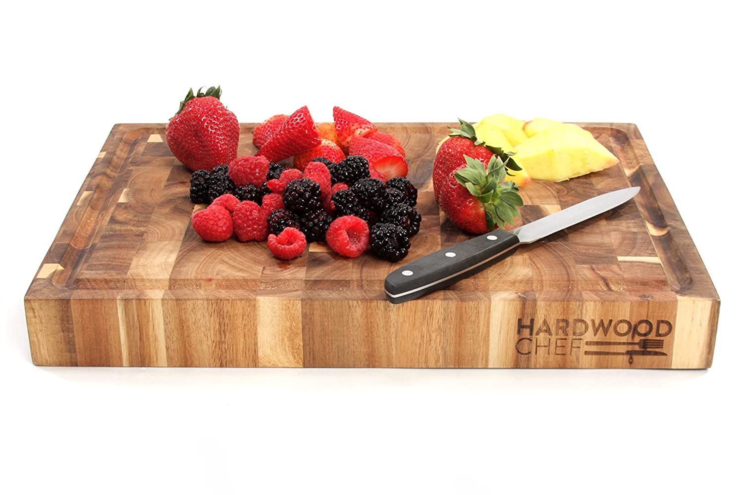 Hardwood Chef Acacia Wood Cutting Board Via Amazon