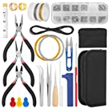 Jewelry Making Supplies Kit, FIXM Jewelry Finding Kit with Accessories Jewelry Pliers, Open Jump Rings, Ribbon Ends, Eye Pins and Earring Hooks, for DIY Jewelry Craft Supplies (Color: #1)