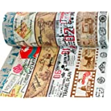 Crafty Rabbit Vintage Travel Washi Tape - Set of 6 Rolls - 196 Feet Total - Multicolor (Color: Trav01)