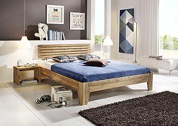 SAM® Massivholzbett Beaumont, Bett aus Wildeiche, geölt, geteiltes Kopfteil, zeitloses Design, robust, widerstandsfähig, 160 x 200 cm