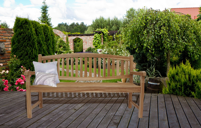 SAM® Teak-Holz, 3 Sitzer Gartenbank, Sitzbank, 160 cm, Oregon, massive Holzbank, ideal für Ihren Balkon und Garten