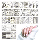 Lady Up Nail Art Stickers Decals Flowers Roses Butterflies Black & Gold Colored 30 Sheets 3D Design Self-adhesive Tip (Color: 30 nail stickers)