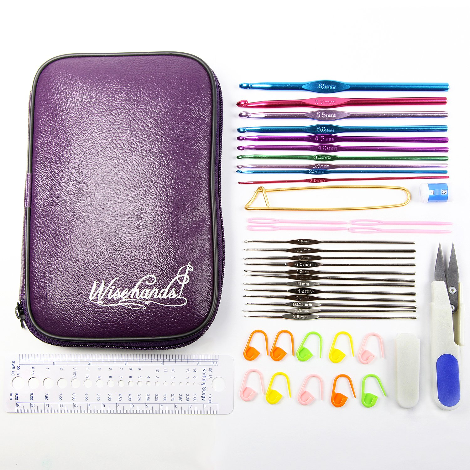 Wisehands® Crochet Set 22pcs Hooks in Purple Case Sewing Kits Complete with Scissors, Stitch Markers, Gauge Measure, Yarn Needles, 4.5″ Safety Pin, 2 Row Counters