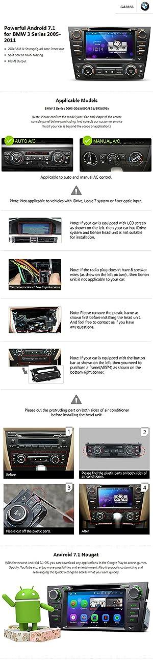 Eonon GA8165 Android 7 1 for 06-11 E90/E91/E92 BMW 3-Series