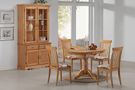 """5 Piece Dining Set 36"""" Round Table Opens to 48"""" Oval Shape Butterfly Leaf Extension Table and Four Chairs All Light Oak Finish"""