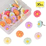 FINGOOO 30 Pieces Decorative Pushpins for Cork Board, Office Organization or Home Colorful Push pins (Color: Daisy)