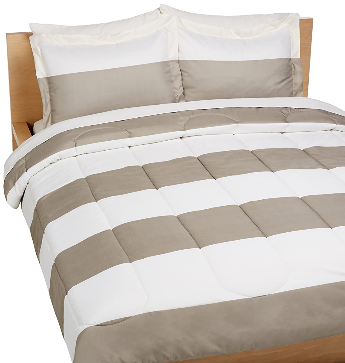 AmazonBasics 7-Piece Bed-In-A-Bag - Full/Queen, Reversible Grey Stripe