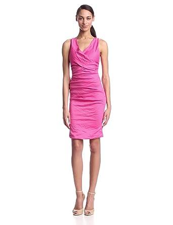 Nicole Miller Women's Cotton Metal V-Neck X-Back Dress, Azalea, 6