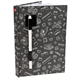 LEGO Stationery Journal with Brick Plate and Gel Pen - Gray Cover with Black Brick and Pen - 96 Wide Ruled Pages - 6
