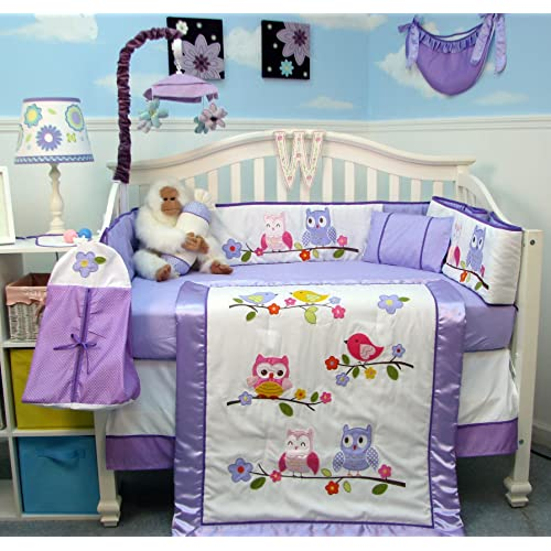 SoHo Lavender Owls Party Baby Crib Nursery Bedding Set 14 pcs