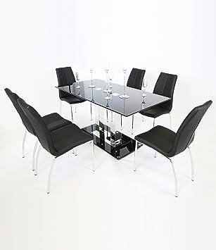 Holly Modern Dining Table – Rectangular Black Glass Top & Chrome Base (160 cm)