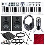 Arturia KeyLab Essential 61 Universal MIDI Controller and Software with PreSonus Eris E3.5 Monitors, Samson Meteor Mic USB Microphone, Keyboard Stand, Sustain Pedal, Deluxe Photo Savings Bundle