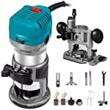 Mophorn 1.25HP Compact Router Kit Max Torque 30,000RPM Variable Speed Router with Fixed Base and Plunge Base For Woodworking and Furniture Manufacturing