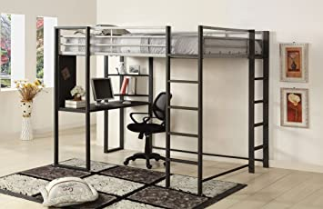 Furniture of America Seina Loft Bed with Workstation and Shelf Display, Full, Silver and Gunmetal Finish