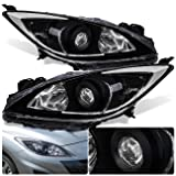 For Mazda 3 Sedan Hatchback Front Bumper Projector Headlight Head Lamp Black Housing Clear Lens Reflector Upgrade Assembly Pair Left Right