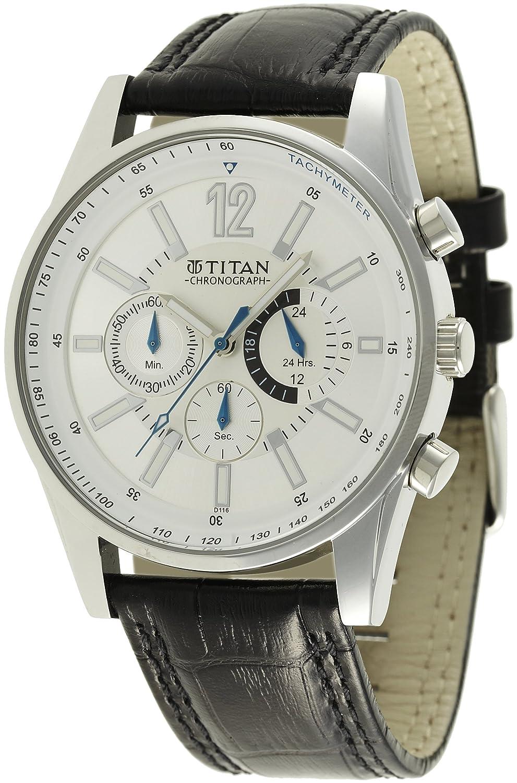 Titan Octane Tachymeter Analog Silver Dial Men
