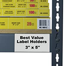 C-Line Best Value Peel and Stick Shelf/Bin Label Holders, Inserts Included, 3 x 5 Inches, 50 per Pack (87647)