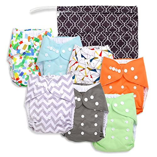 Baby Cloth Pocket or Cover Diapers (7 Pack) with 7 Bamboo Inserts and 1 Wet Bag in Modern Patterns for Boy or Girl by Nora's Nursery