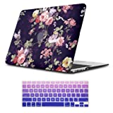 iLeadon Macbook 12 inch Case Model A1534 Protective Hard Case Rubber Coated Ultra Thin Shell Cover+Keyboard Cover For MacBook 12 Inch With Retina Display ,Navy Blue Rose (Color: Navy Blue Rose, Tamaño: MacBook 12 Inch)