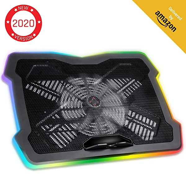 Klim Ultimate + RGB Laptop Cooling Pad with LED Rim + Gaming Laptop Cooler + USB Powered Fan + Very Stable and Silent Laptop Stand + Compatible up to 17 + for PC Mac PS4 Xbox One + New 2020 (Color: RGB)