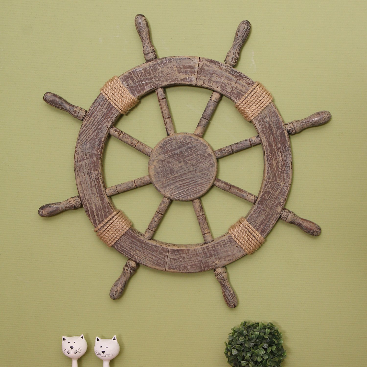Wall Decor With Rope : Adeco quot wood ornamental nautical ship steering wheel w