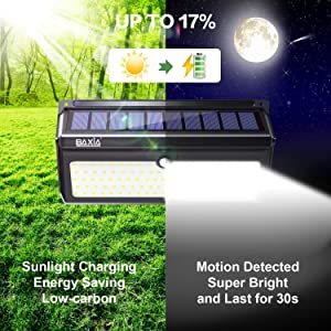 BAXIA TECHNOLOGY Solar Lights Outdoor, 100 LED Solar Motion Sensor Lights With Wide Angle, Upgraded Waterproof Super Bright Security Solar Wall Lights for Garden, Fence, Front Door, Yard, [2 Pack] (Color: 100LED 2Pack, Tamaño: 100LED 2 Pack)