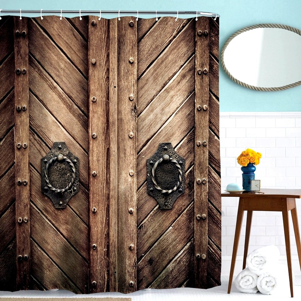 """ToHa Retro Style Wooden Door Brown Shower Curtain, Rustic Rivet Wooden Door for 3D Print Vintage Rustic Theme Polyester Fabric Shower Curtain set, 72""""W x 72""""L, Including 12 Hooks"""