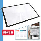 MagniPros Premium 3X (300%) Page Magnifying Lens with 3 Bonus Bookmark Magnifiers for Reading Small Prints, Low Vision Aids & Solar Projects (Color: Clear, Tamaño: 4.75