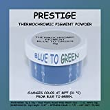 Prestige THERMOCHROMIC Pigment That Changes Color at 88°F (31 °C) from Colored to Transparent (Colored Below The Temperature, Transparent Above) Perfect for Color Changing Slime! (5g, Blue to Green) (Color: BLUE TO GREEN, Tamaño: 5g)