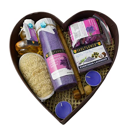 Soulflower Relax with Lavender Spa Set (Soap, Massage Oil, Bath salt, Candle, Massage Neck Roller, Loofah)