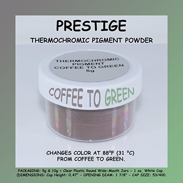 PRESTIGE THERMOCHROMIC PIGMENT THAT CHANGES COLOR AT 88°F (31 °C) FROM COLORED TO TRANSPARENT (Colored Below The Temperature, Transparent Above) Perfect For Color Changing Slime! (5g, COFFEE TO GREEN) (Color: COFFEE TO GREEN, Tamaño: 5g)