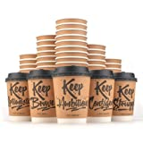 Disposable Coffee Cups Hot Insulated Paper Cups - With Lid and Stir Straw 12oz(50 Count) Double layer Insulated Eco Friendly,Sturdy Construction,Disposable Craft Large Reusable (Color: Brown)