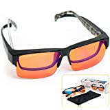 Fitover 99.5% Blue Blocking Computer Glasses | Fits Over Prescription Eyeglasses | Amber Orange to Block Blue Light | Better Night Sleep & Reduce Eyestrain Migraine Headaches Insomnia (Tamaño: Flex Frame Large)