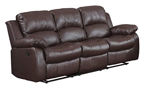 Homelegance 9700BRW-3 Double Reclining Sofa, Brown Bonded Leather