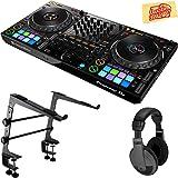 Pioneer DDJ-1000 Professional 4-Channel Controller for Rekordbox DJ Bundle with Stand, Headphones, and Austin Bazaar Polishing Cloth (Color: Bundle w/ Stand, Tamaño: DDJ-1000)