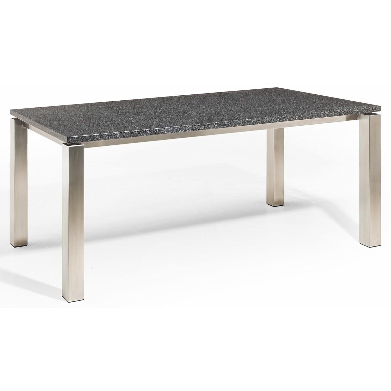 Studio 20 Stavanger Gartentisch 220 x 100 cm Outdoortisch Granittisch Edelstahl Tischplatte Pearl black satiniert