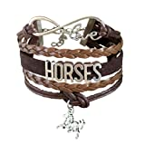 BAE Icons Horse Bracelet Gift for Girls, Horse Jewelry, Infinity Bracelet Horse Charm, Gift Wrapped, Girls Gifts,Teen Girl Gifts for Pony Loving Girls, Birthday Gifts for Girls, Horse Gifts (Color: Brown, Tamaño: 5.5in medium)