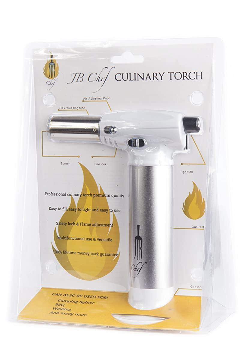 JB Chef Culinary Micro Butane Torch | Refillable Cooking Kitchen Blow Torch With Safety Lock & Adjustable Flame | For Pastries, Desserts, Crème Brûlée, Blazing, Soldering, Camping, Jewelry & More