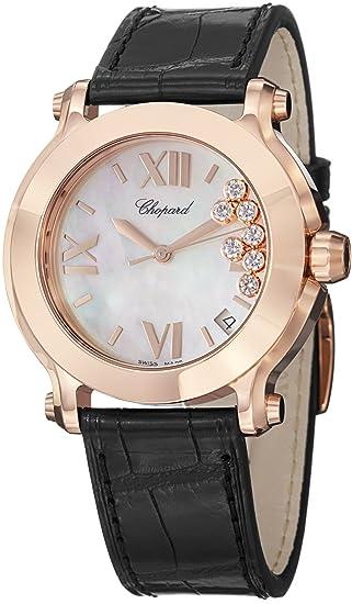 Chopard Women's 277471-5002 LBK Happy Sport Round Analog Display Swiss Quartz Black Watch