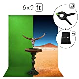 Green Screen Photo Backdrop or Background 6?9 Ft – 100% Cotton Muslin Chromakey Curtain Collapsible Set for Photography Studio Videos Gaming - Bonus 3 Backdrop Clamps & a Carry Bag - MUVR lab (Color: Green)
