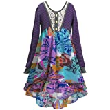 SaraSara Big Girls Long Sleeve Hi Low Dress (with Many Options), 7-16 (8, Purple Multi) (Color: Purple/Multicolor, Tamaño: 8)