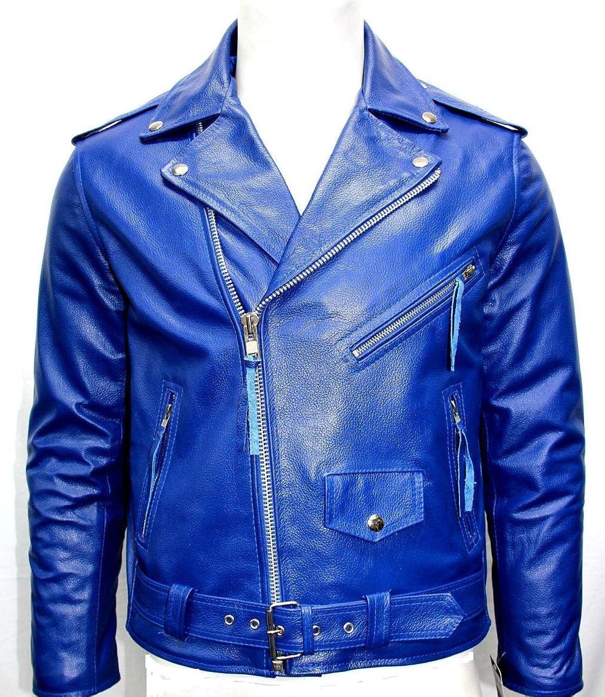 Mann royalblau Brando Biker-Stil Rindsleder Echtlederjacke günstig online kaufen