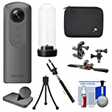 Ricoh Theta V 360-Degree Spherical 4K HD Digital Camera with TH-2 Weatherproof Case + Hard Case + Action Mounts + Selfie Stick + Tripod Kit