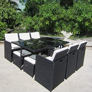 VEGAS Poly Rattan Schwarz Sitzgruppe Gartengarnitur Essgruppe Gartenmöbel Lounge Cube