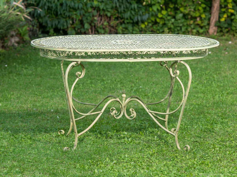 Gartentisch 135cm Eisen Tisch Schmiedeeisen Gartenmöbel grün antik Stil jetzt bestellen