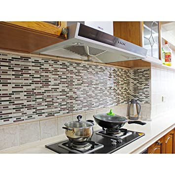 Fancy-fix Vinyl Self Adhesive Multicolor Mesh-Mounted Mosaic Kitchen  Backsplash Wall Tile Sticker