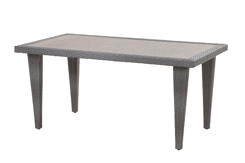 Alu Polyrattan Geflecht Gartentisch Quarto 160 x 90 cm Rattan, silber grau, Spraystone jetzt bestellen