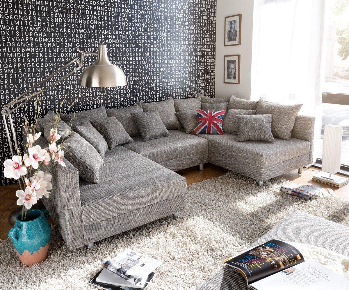 Couch Clovis XXL Hellgrau 300×185 cm Hocker und Kissen Wohnlandschaft online bestellen