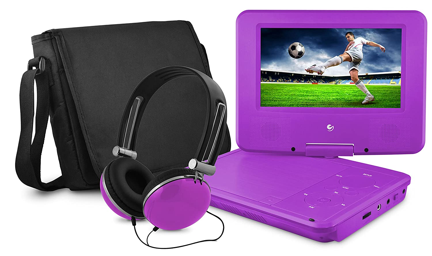 DVD Player, Ematic 7 inch Swivel Purple Portable DVD Player with Matching Headphones and Bag ( EPD707PR )